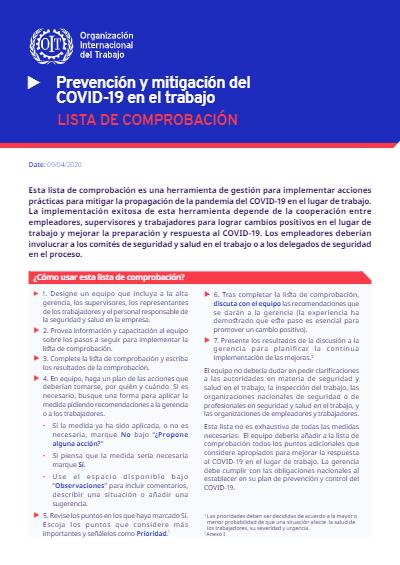 PREVENCIÓN Y MITIGACIÓN DEL COVID-19 EN EL TRABAJO